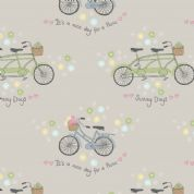 Lewis & Irene Picnic In The Park - 4691 - Bicycles on Taupe - A152.3 - Cotton Fabric